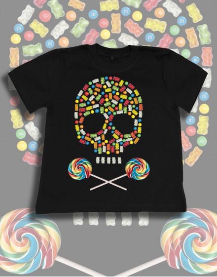 Koszulka dziecięca czarna bawelna candy skull lizaki zelki czaszka