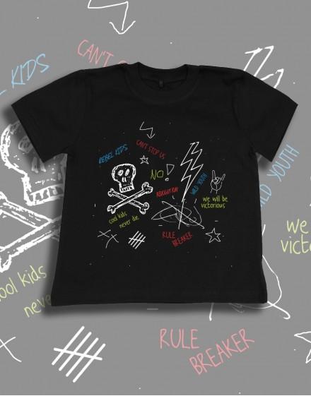 Koszulka dziecięca bawelniana czarna  z nadrukiem grafika reble kids buntownik