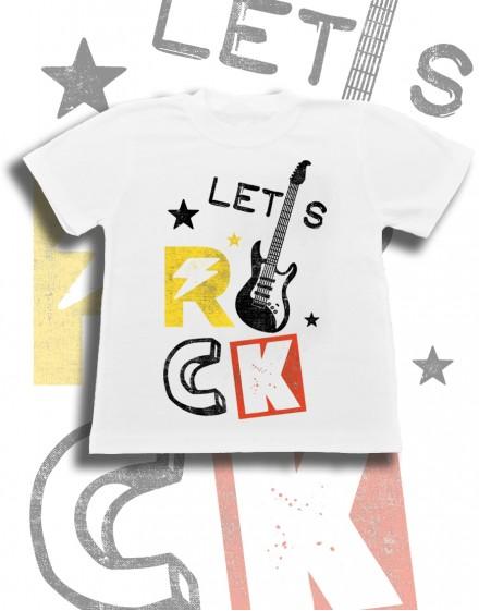 Koszulka dziecięca biala bawelna z nadrukiem grafika lets rock gitara