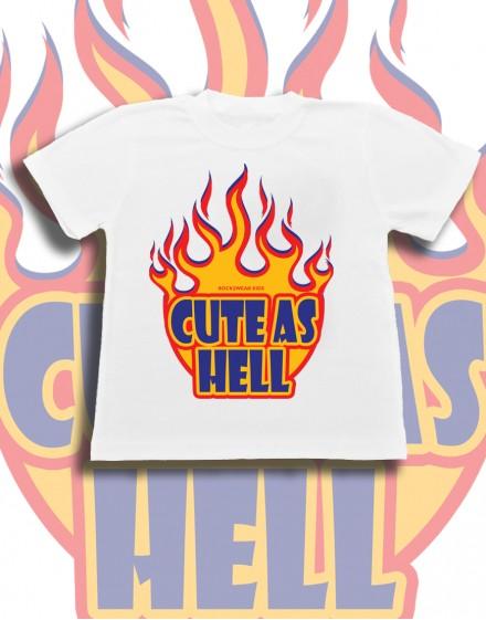 Koszulka dziecięca CUTE AS HELL bawelniana biala