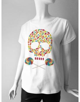 Koszulka damska CANDY SKULL biała