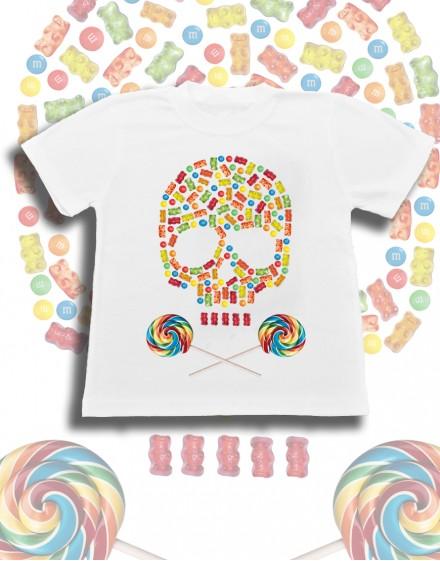 Koszulka dziecięca biala bawelna candy skull lizaki zelki czaszka